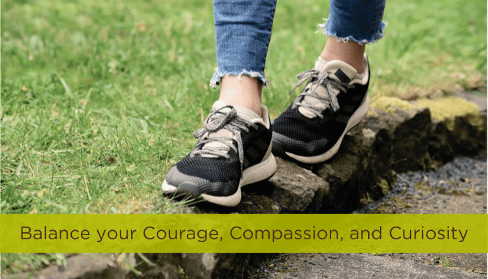 balance your courage compassion and curiosity shoes walking on stick jeans shoes green grass