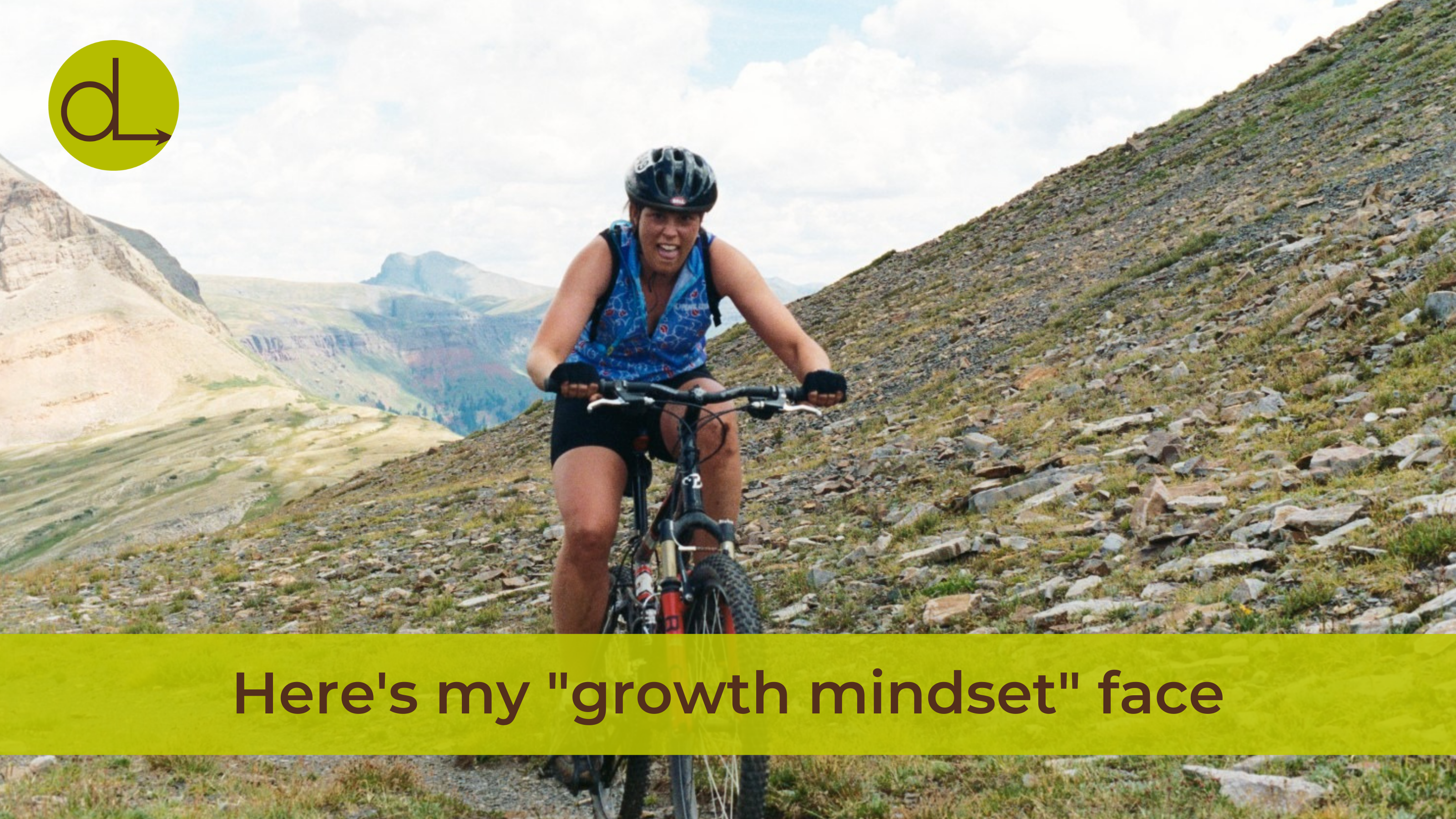 """Photo of Darcy mountain biking with the caption """"Here's my 'growth mindset' face"""""""
